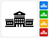 Building Icon. This 100% royalty free vector illustration features the main icon pictured in black inside a white square. The alternative color options in blue, green, yellow and red are on the right of the icon and are arranged in a vertical column.
