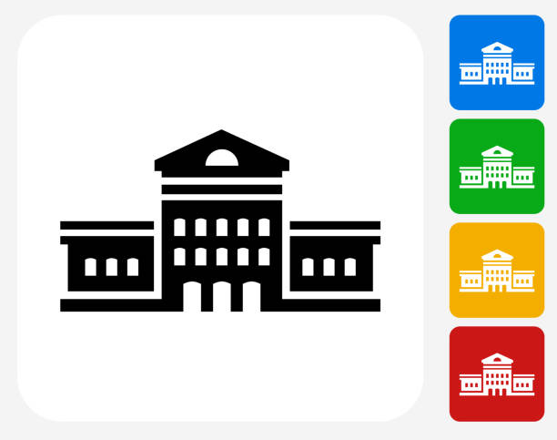 building icon flat graphic design - siyaset ve hükümet stock illustrations