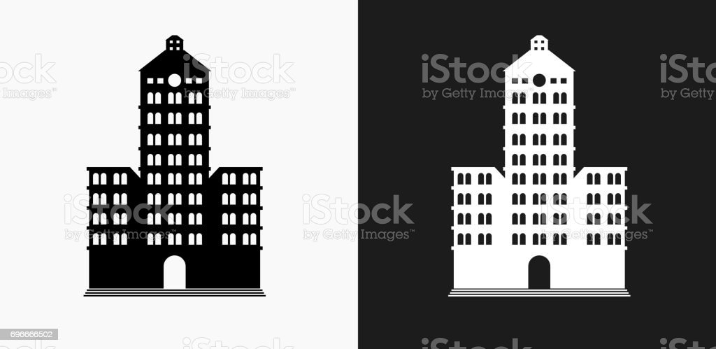 building icon on black and white vector backgrounds stock vector art