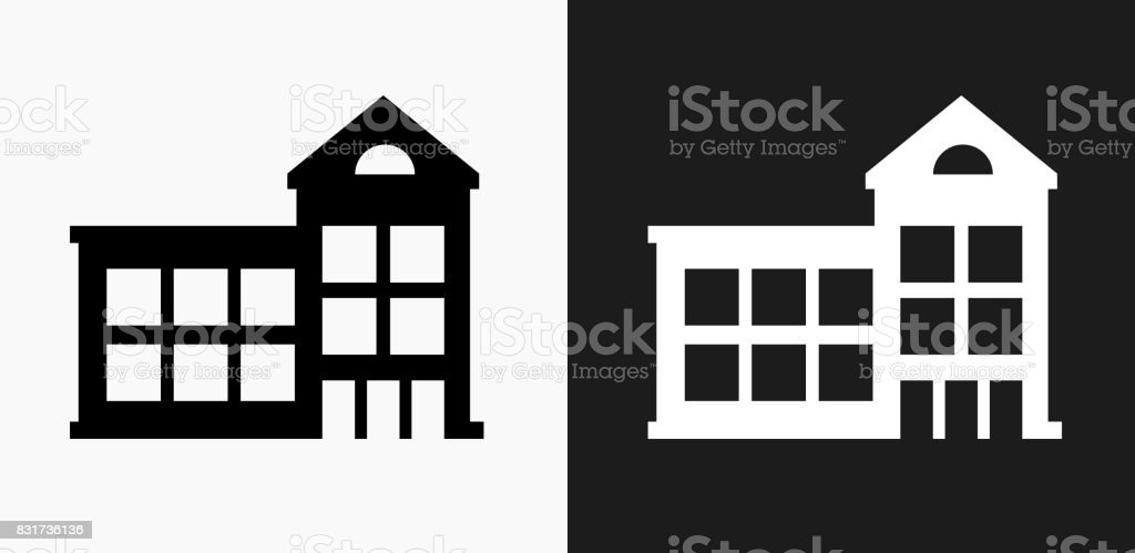Building Icon on Black and White Vector Backgrounds vector art illustration