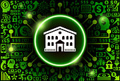 Building  Icon on Money and Cryptocurrency Background. The main symbol depicted is in the center of the illustration. The background is made up from icon with the cryptocurrency and money theme. These vector icons make up a pattern and vary in size and in the shade of the green color. The background color is black. This image is ideal for the current cryptocurrency themed illustrations.