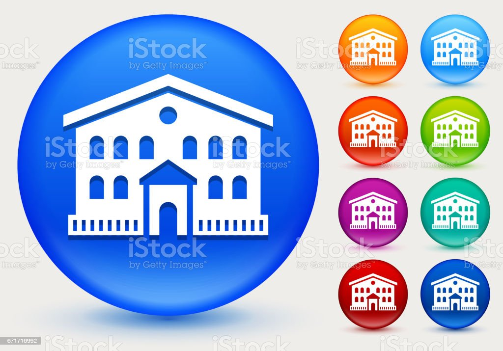 Building Icon on Shiny Color Circle Buttons vector art illustration