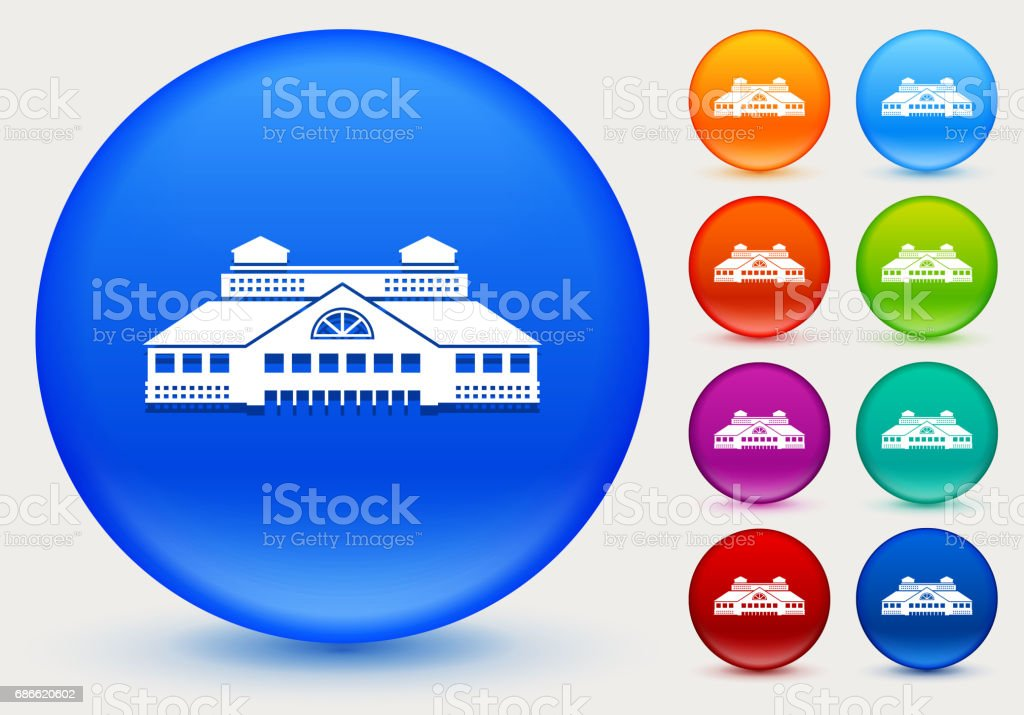 Building Icon on Shiny Color Circle Buttons royalty-free building icon on shiny color circle buttons stock vector art & more images of architecture