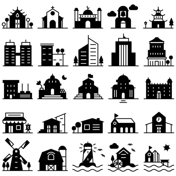 Government Apartments: Best Modern Farmhouse Exterior Illustrations, Royalty-Free