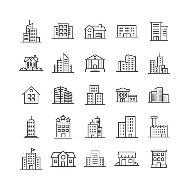 ilustrações, clipart, desenhos animados e ícones de ícone do edifício ajustado no estilo liso. ilustração do vetor do apartamento do arranha-céus da cidade no fundo isolado branco. conceito do negócio da torre da cidade. - arranha céu