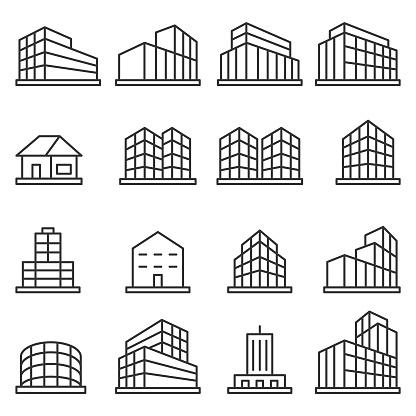 Building icon set clipart