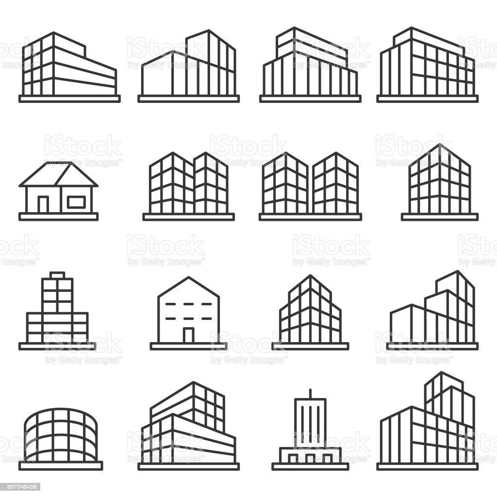 建物のアイコンセット ベクターアートイラスト