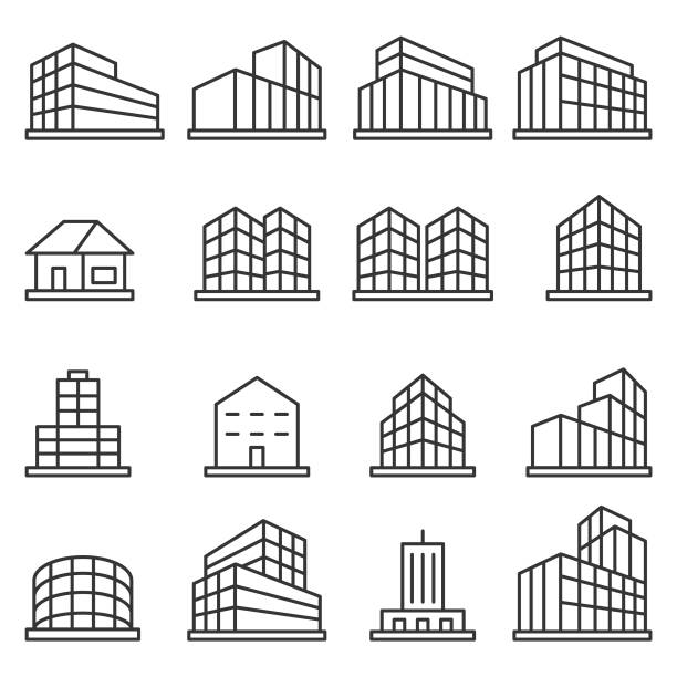 Building icon set vector art illustration
