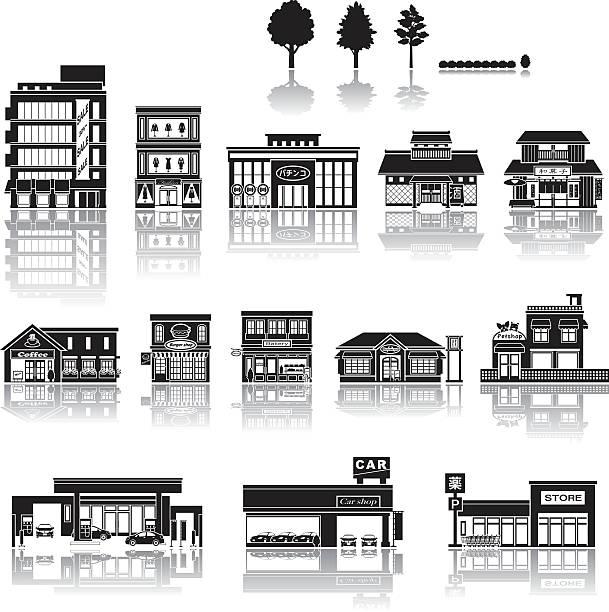 stockillustraties, clipart, cartoons en iconen met building icon / silhouette - warenhuis