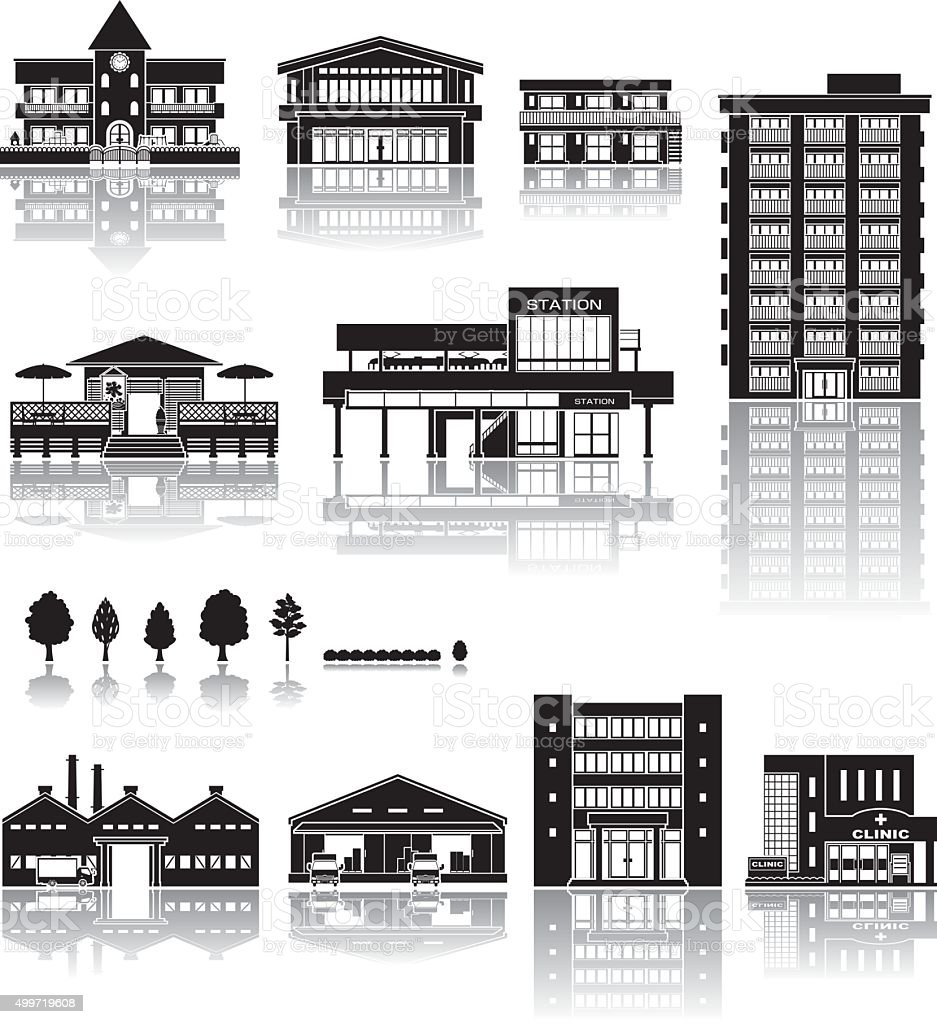 Building icon / silhouette vector art illustration