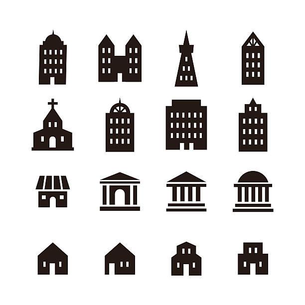 stockillustraties, clipart, cartoons en iconen met building icon - gemeentehuis
