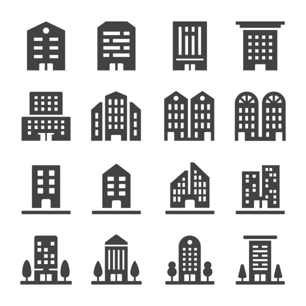 building icon building icon set hotel stock illustrations