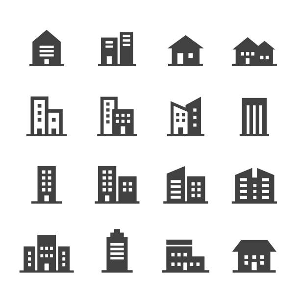 building icons - acme series - небольшой город stock illustrations
