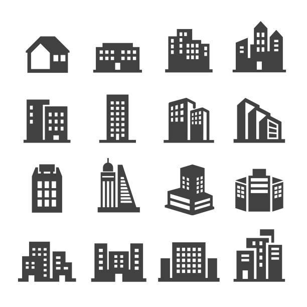 stockillustraties, clipart, cartoons en iconen met gebouw icons - acme serie - flat icons