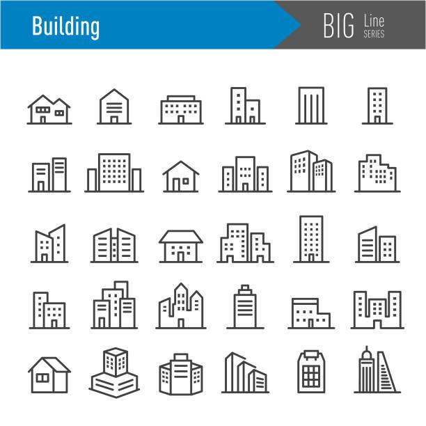 illustrazioni stock, clip art, cartoni animati e icone di tendenza di icone degli edifici - serie big line - appartamento
