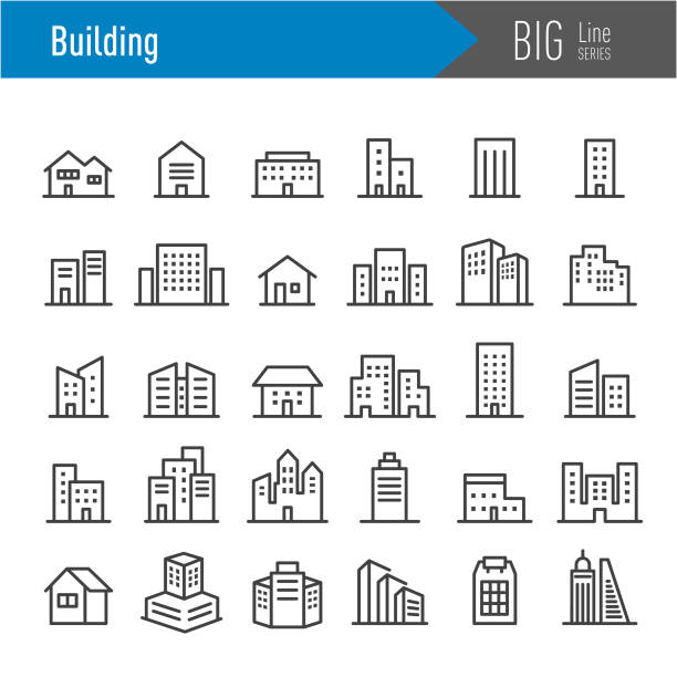 Building Icons - Big Line Series Building, building exterior stock illustrations