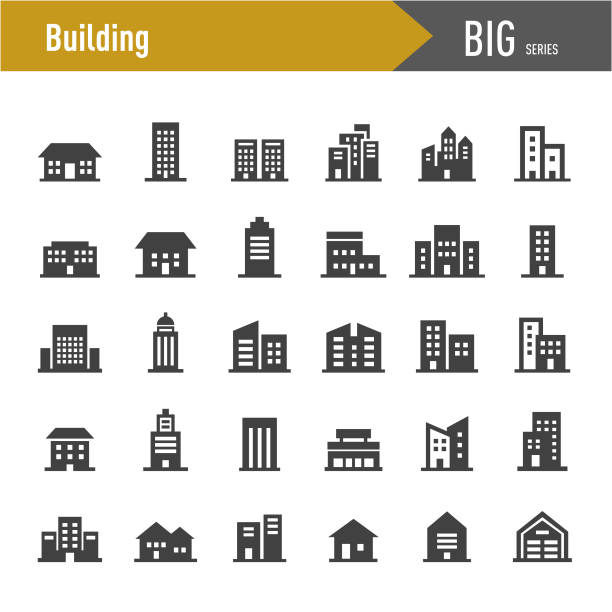 Building Icons - Big Series Building, house, building exterior stock illustrations