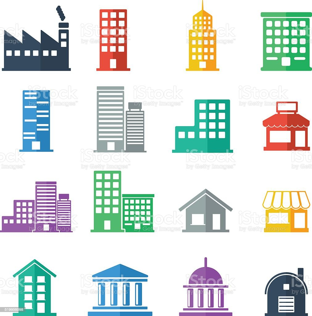 building icons building flat design vector illustration