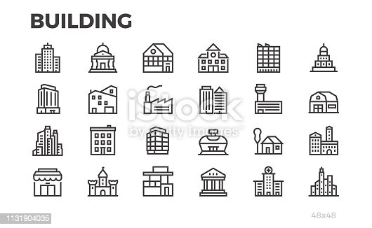 Building icons. City, house, home, architecture, office, real estate  and others symbols. Editable line. Pixel perfect.