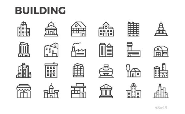 Building icons. City, house, home, architecture, office, real estate  and others symbols. Editable line. Pixel perfect. Building icons. City, house, home, architecture, office, real estate  and others symbols. Editable line. Pixel perfect. factory stock illustrations