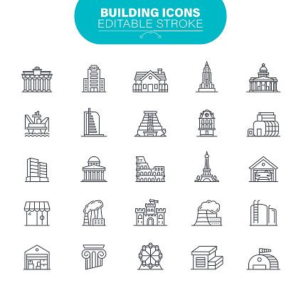 Building Icons Editable Stroke