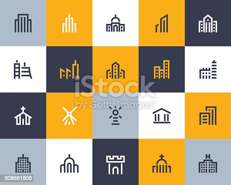 Building icons set. Flat style