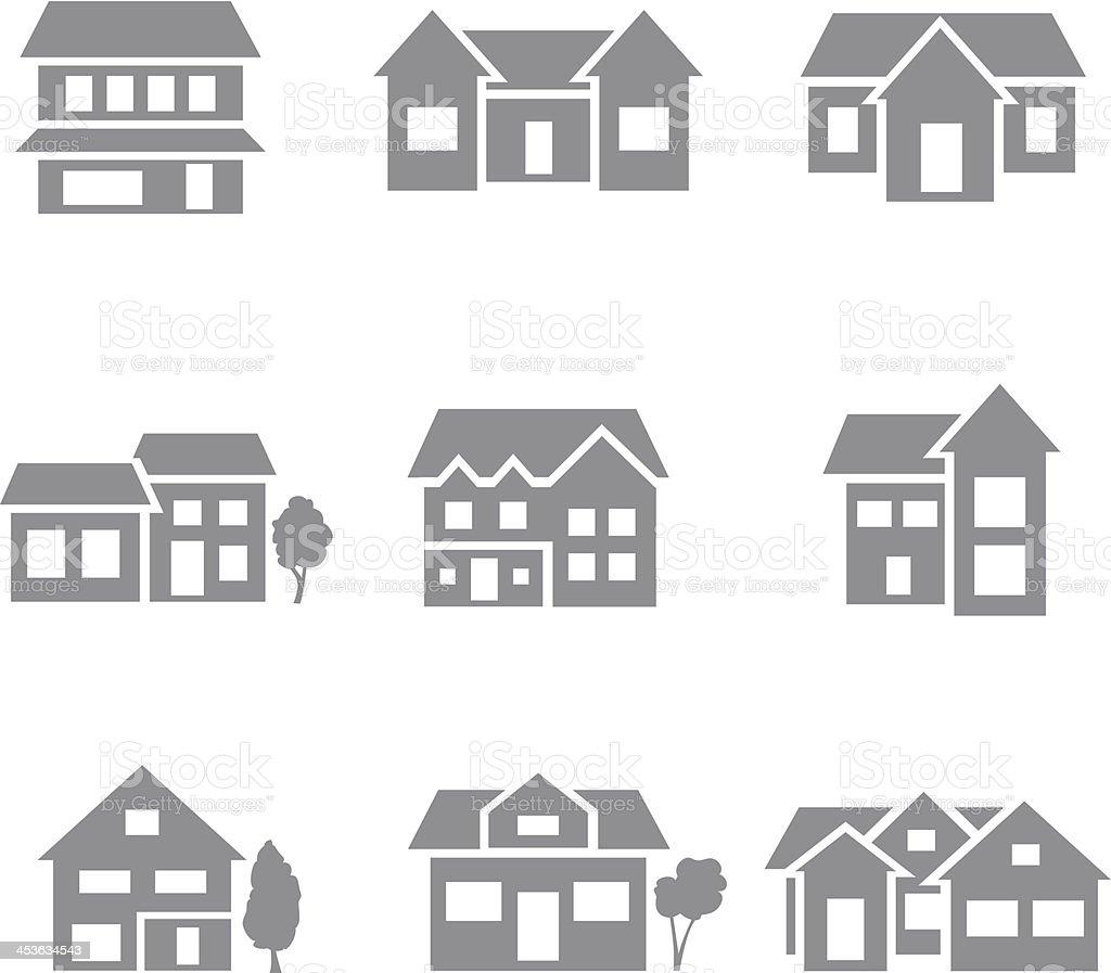 Building icons - gray vector art illustration