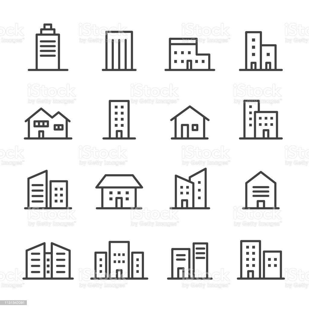 Building Icons - Line Series - Векторная графика Архитектура роялти-фри