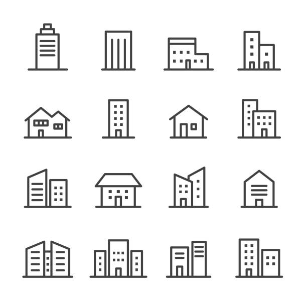 illustrazioni stock, clip art, cartoni animati e icone di tendenza di icone degli edifici - serie line - edificio adibito a uffici