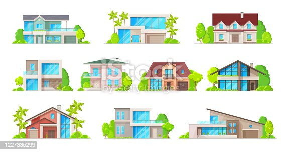 House building vector icons of real estate cottages, residential homes and bungalows, town or village townhouses, villas or mansions. Exterior front view of houses with doors, windows and trees