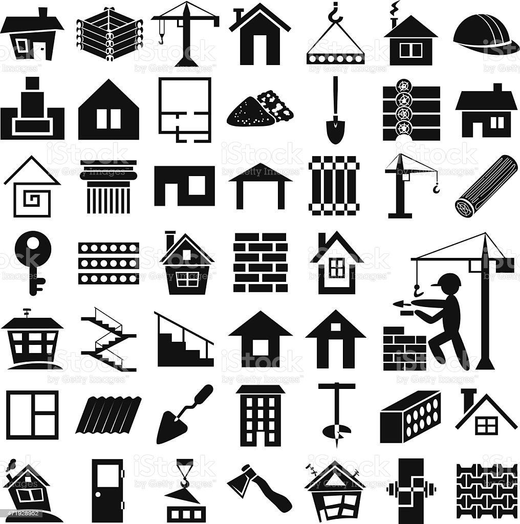 building icons on white vector art illustration