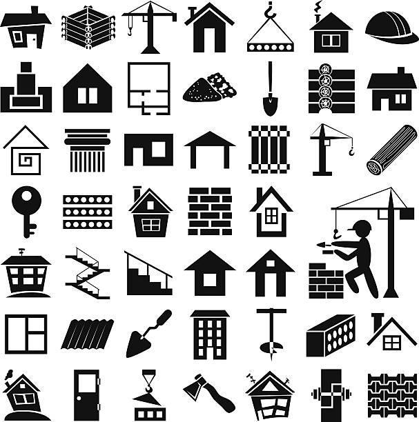bildbanksillustrationer, clip art samt tecknat material och ikoner med building icons on white - construction workwear floor