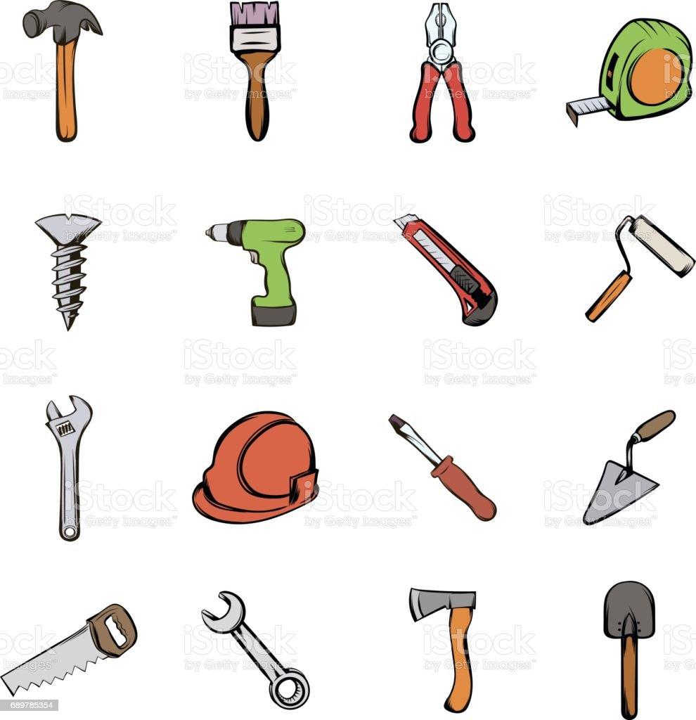 Building icons set cartoon vector art illustration