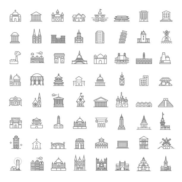 Building Icons set, Government. Landmarks Building Icons Government building icons set of museum, library, theater isolated vector illustration set, government monument stock illustrations