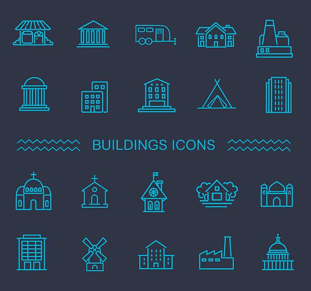 ilustraciones, imágenes clip art, dibujos animados e iconos de stock de conjunto de iconos de edificio, administración - suministros escolares
