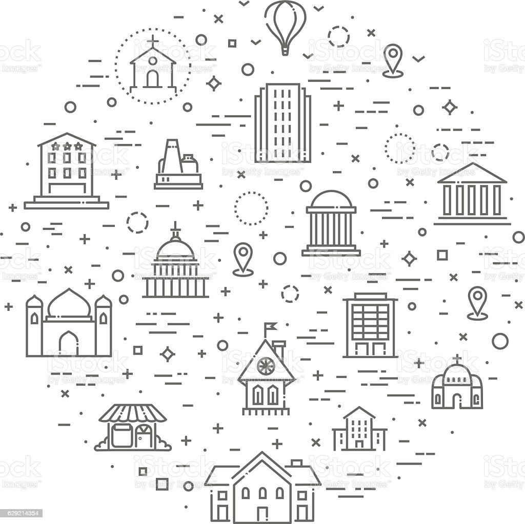Building Icons set, Government vector art illustration