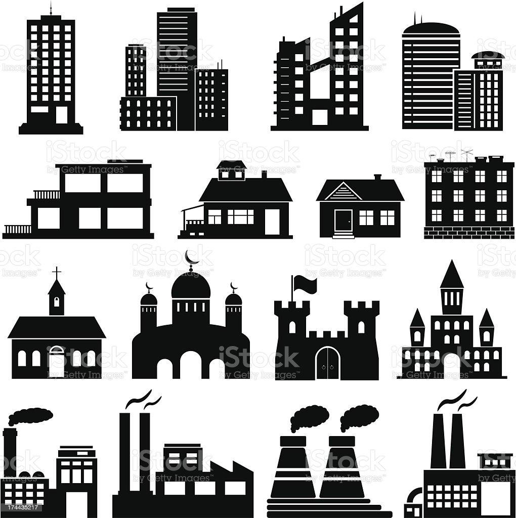 Building Icons Set. vector art illustration