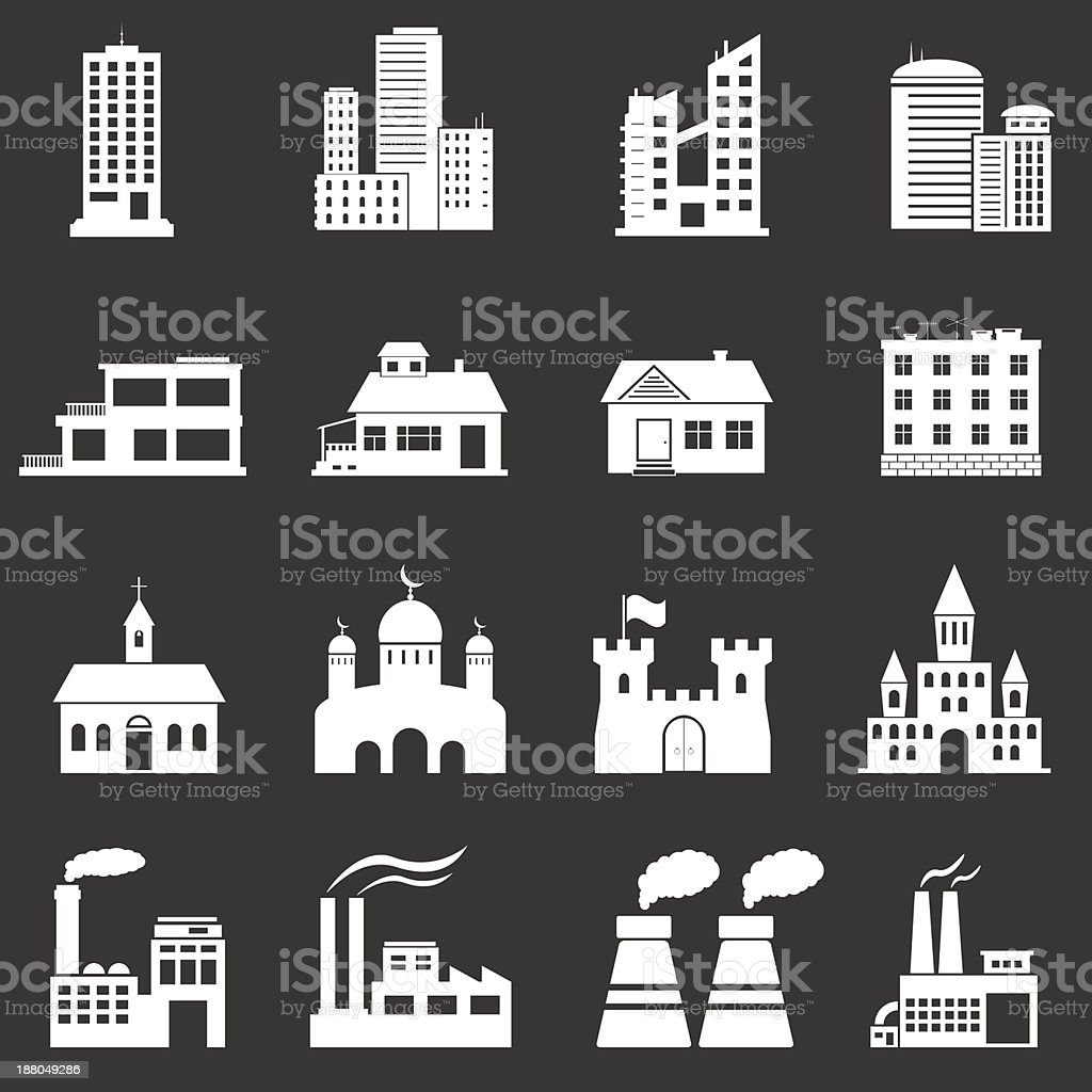 Building Icons Set royalty-free stock vector art