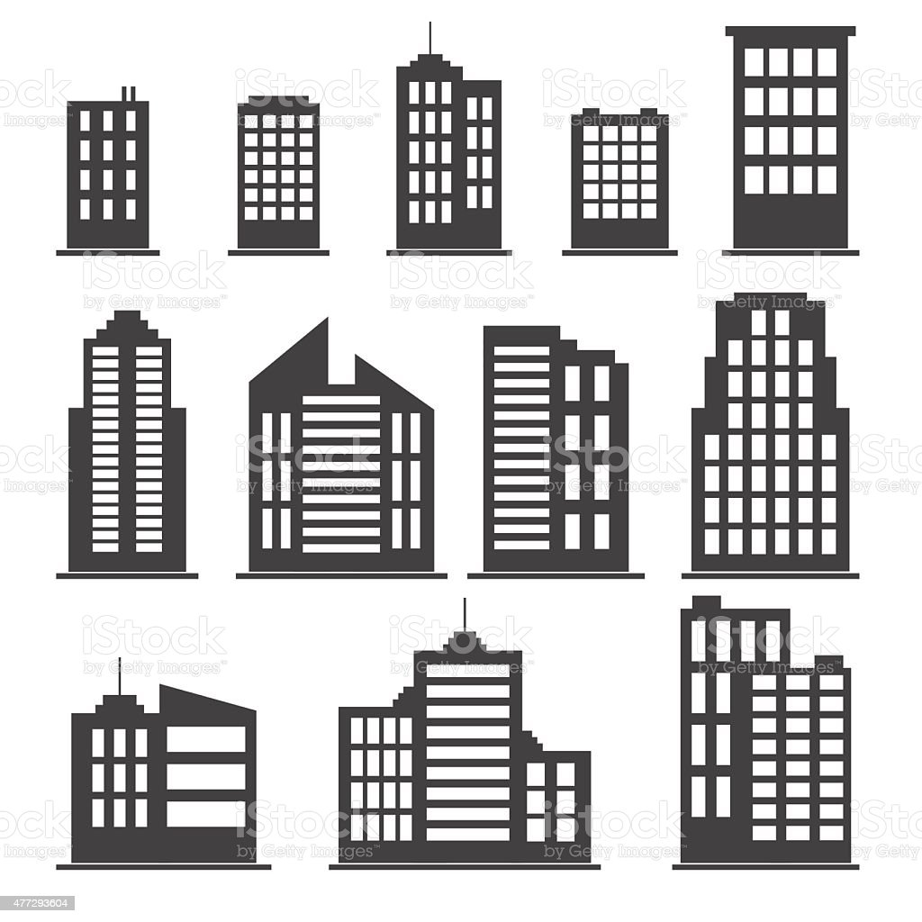 Building icons set vector art illustration