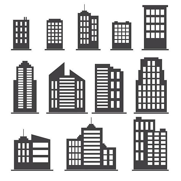 stockillustraties, clipart, cartoons en iconen met building icons set - wolkenkrabber