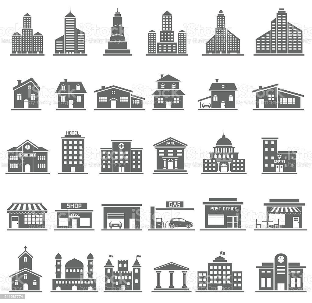 Здание Иконки Set векторная иллюстрация