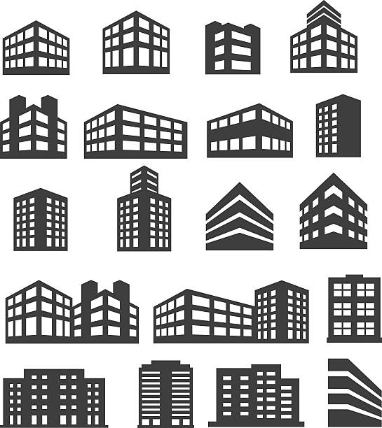 building icons set - architecture silhouettes stock illustrations