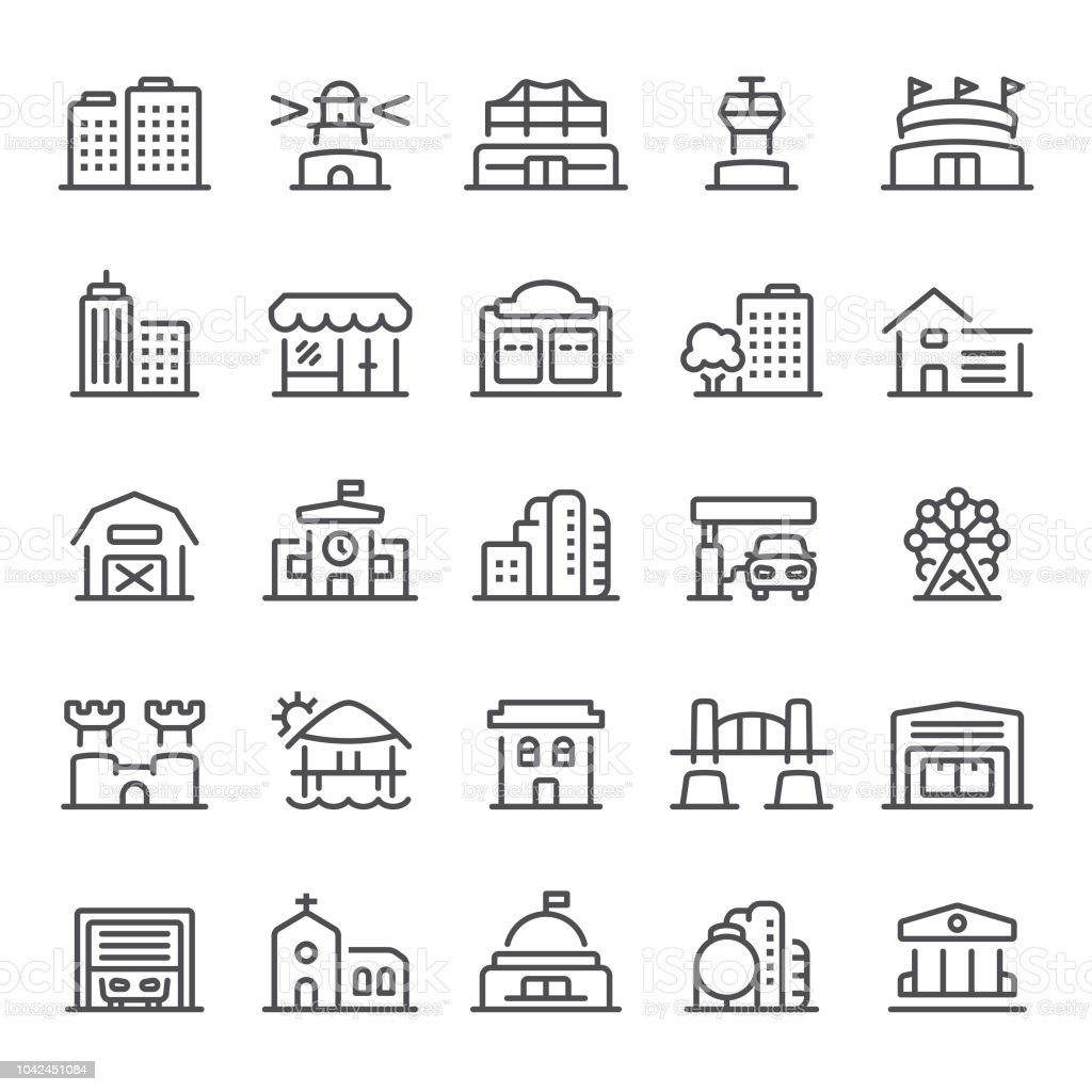 Building Icons vector art illustration