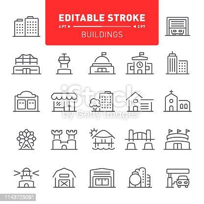 Building, real estate, editable stroke, outline, icon, icon set, architecture, house, stadium