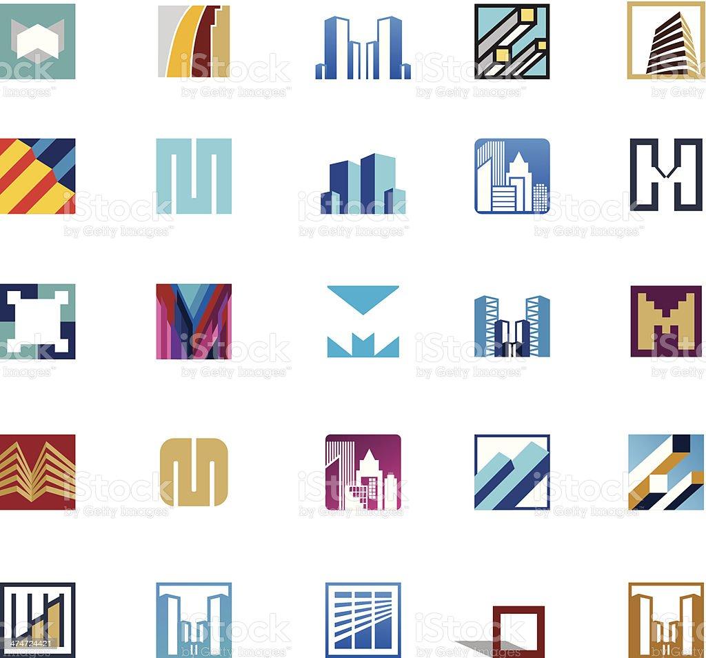 Building icons vector art illustration