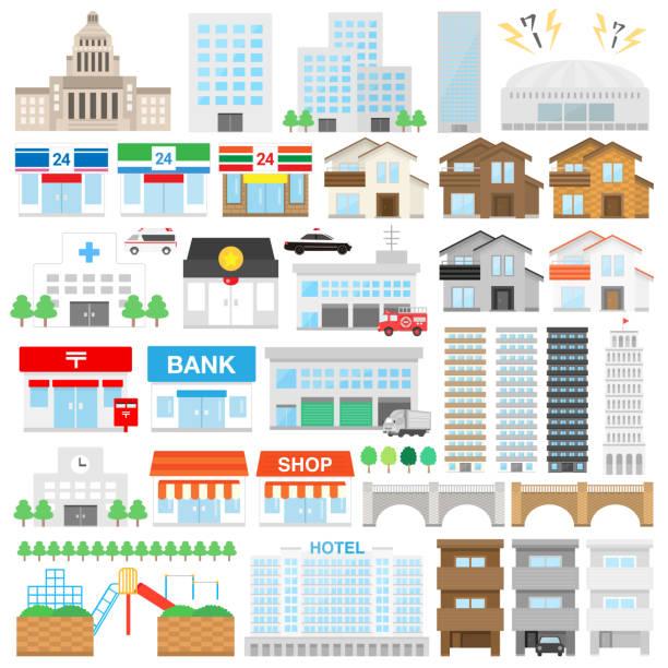 建物イラスト セット - イラスト点のイラスト素材/クリップアート素材/マンガ素材/アイコン素材