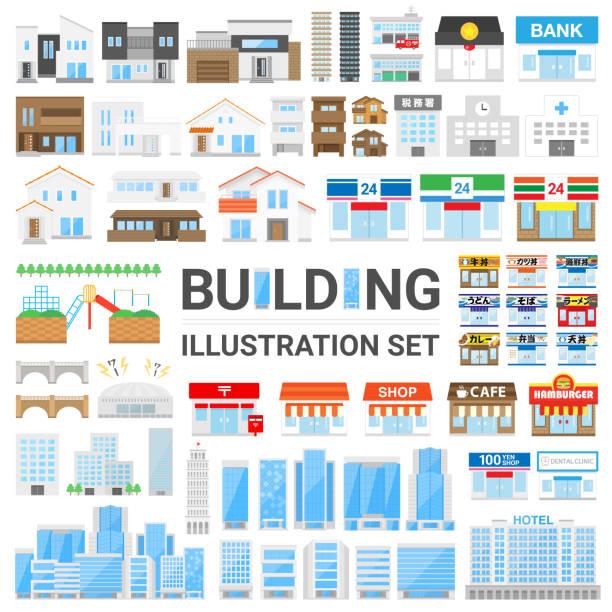 illustrations, cliparts, dessins animés et icônes de ensemble d'illustration de bâtiment - commissariat