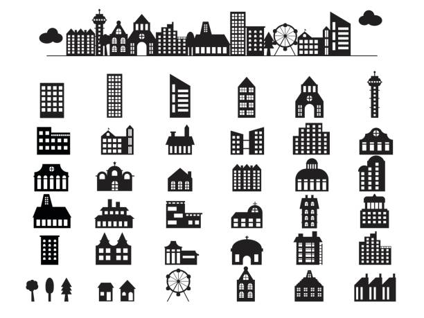 建物イラスト シルエット - 都市 モノクロ点のイラスト素材/クリップアート素材/マンガ素材/アイコン素材