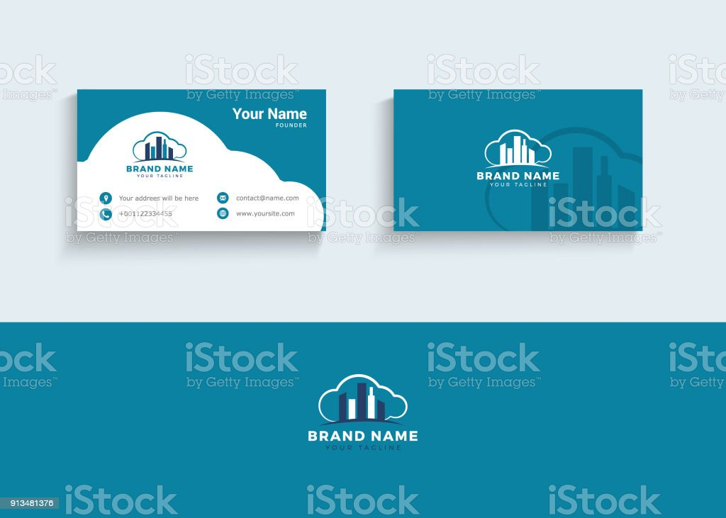 Building In Clouds Symbol And Business Card Design Template Stock ...