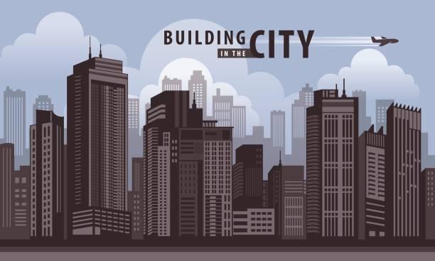 市高層ビルの視点で構築しています。ベクトル アーキテクチャ - 漫画の風景点のイラスト素材/クリップアート素材/マンガ素材/アイコン素材